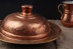 Turkish national copper dishes for serving food and drinks Royalty Free Stock Images