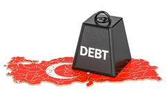 Turkish national debt or budget deficit, financial crisis concep. T, 3D Stock Photo