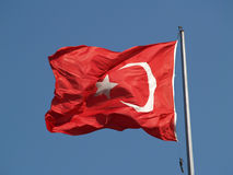 Turkish national flag. Waving in the wind stock images