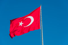 Turkish national flag at blue-blue sky Royalty Free Stock Photo