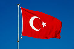 Turkish national flag over blue sky Royalty Free Stock Photo