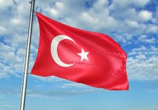Turkey flag waving with sky on background realistic 3d illustration royalty free illustration