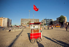 Turkish national flag under traditional fast food stall with circular bread Simit Royalty Free Stock Images