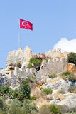 Turkish national flag waving on the wind Royalty Free Stock Photo