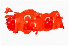 Turkish national flags fillings in map of Turkey on white. Turkish flags with white star and moon in Turkish map stock photos