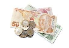 Turkish national money isolated on white Royalty Free Stock Photography