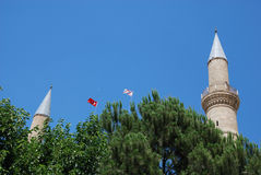 Turkish and North Cyprus flags Stock Images