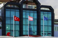 Turkish, Northern Cyprus and European Union flags stock image