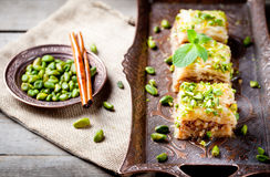 Turkish nut and phyllo pastry dessert, baklava Royalty Free Stock Image