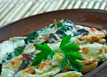 Turkish omelette with beetroot Royalty Free Stock Photo