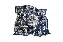 Turkish Oriental beautiful scarves with pictures of natural silk on a white background. Colorful Turkish Oriental beautiful scarves with pictures of natural silk stock photos