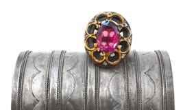 Turkish Ottoman ring and antique bracelet Stock Photos