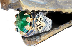 Turkish Ottoman ring with emerald Stock Photography