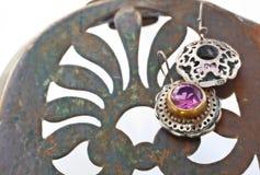 Turkish Ottoman silver earrings Stock Photo