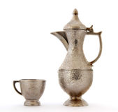 Turkish ottoman style metal pitcher and cup Royalty Free Stock Photos