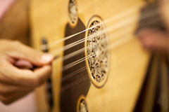 Turkish Oud Player. Close-up oud player turkish music instrument Stock Photo