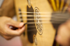 Turkish Oud Player. Close-up oud player turkish music instrument Stock Photography