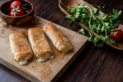 Turkish Pacanga Boregi with pastirma and cheddar melted cheese / borek Royalty Free Stock Image