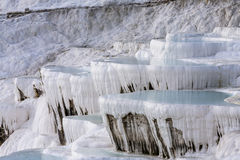 Turkish. Pamukkale. White rocks with azure water pools Royalty Free Stock Photo