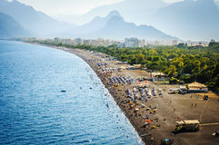 Turkish Paradise. Golden morning on the Antalya beach Stock Images