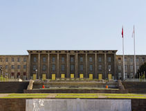 Turkish Parliament. ANKARA - MAY 27: Turkish Parliament Building facade on May 27, 2013 in Ankara , The Grand National Assembly of Turkey (in Turkish TBMM) is Stock Photo