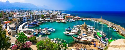 Turkish part Kyrenia town, view of old port,Cyprus island. Beautiful Kyrenia town,panoramic view,Cyprus island royalty free stock images