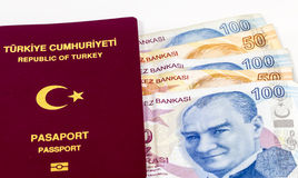 Turkish Passport and Banknotes Stock Images