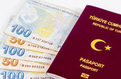 Turkish Passport and Banknotes Stock Photo