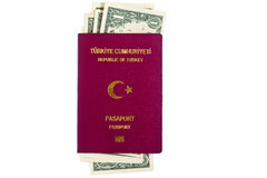 Turkish Passport with U.S Dollars Royalty Free Stock Photos
