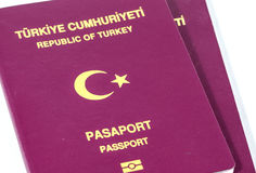Turkish Passports on White Royalty Free Stock Image