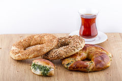 Turkish Pastry Foods on a Wooden Royalty Free Stock Photos