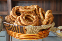 Turkish pastry simit in basket. At patisserie Stock Photo