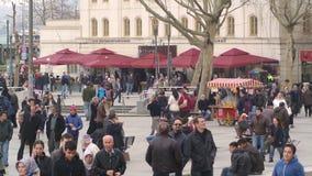 Turkish people in Eminonu Square Istanbul. Istanbul, Turkey - February 28, 2015: Turkish people walking, shopping in Eminonu Square. Eminonu is the district lies stock video footage