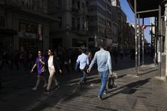 Turkish people and tourists are walking at The Beyoglu Istanbul. Istanbul, Turkey - April 19, 2018: Turkish people and  tourists are walking at The Istiklal Stock Image