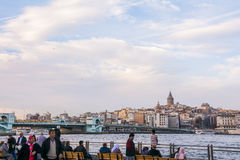 Turkish people watching a scenic view over Bosporus Stock Photo