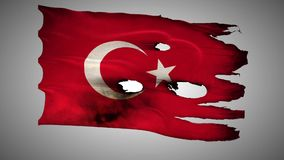 Turkish perforated, burned, grunge waving flag loop alpha stock video