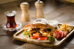 Free Turkish Pide Doner Sandwich With Greens And Tomatoes Stock Photography - 176781422
