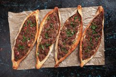 Pide, turkish street food similar to pizza Stock Images