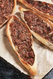 Turkish pide, meat and pastry street food Royalty Free Stock Photo
