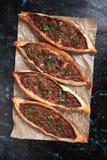 Pide, turkish street food similar to pizza Stock Image