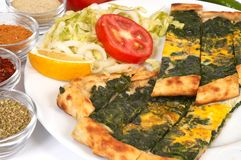 Turkish pide - spinach Royalty Free Stock Images