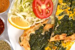 Turkish pide - spinach Royalty Free Stock Image