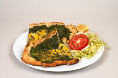 Turkish pide - spinach Royalty Free Stock Photo