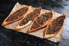 Turkish pide, traditional meal similar to pizza Stock Photo