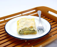 Cheese pie with spinach. Stock Photo