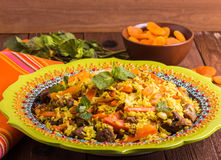 Turkish pilaf with lamb, turmeric and spices in traditional styl Stock Images