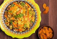 Turkish pilaf with lamb, turmeric and spices in traditional styl Royalty Free Stock Images