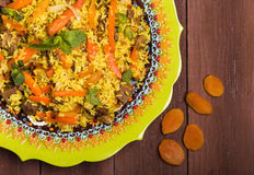 Turkish pilaf with lamb, turmeric and spices in traditional styl Stock Photos