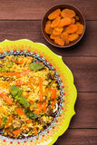 Turkish pilaf with lamb, turmeric and spices in traditional styl Royalty Free Stock Photos