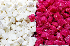 Turkish pink and white delight lokum in Grand Stock Photo